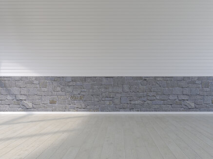 Plank floor, natural stone and panel wall, 3D Rendering - UWF01086