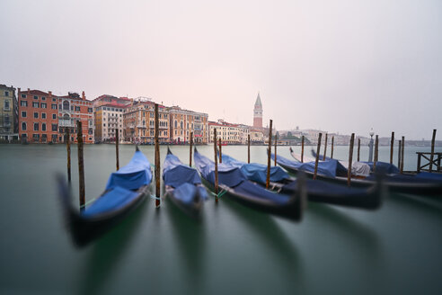 Italy, Venice, moored gondolas at twilight - XCF00111