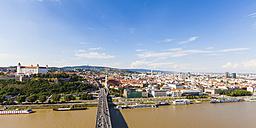 Slovakia, Bratislava, cityscape with river cruise ships on the Danube - WDF03823