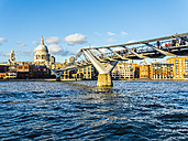 UK, London, view to St. Paul's Cathedral and Millenium Bridge over the River Thames - AM05181