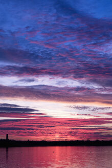 Germany, Saxony, Cospuden Lake at sunset - NDF00620