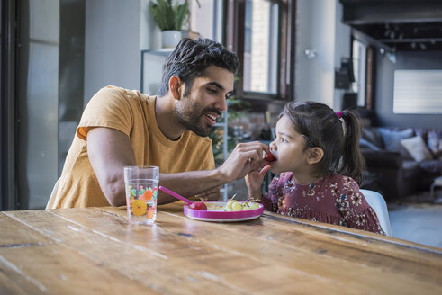 Father feeding daughter in kitchen - WESTF22448