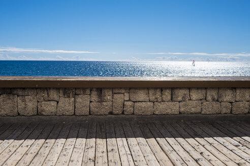 Spain, Tenerife, ocean behind stone wall - SIPF01265