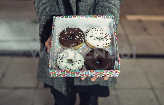 Woman holding box with doughnuts, partial view - DAPF00533