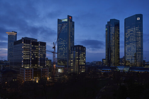 Germany, Frankfurt, view to skyscrapers at financial district - BSC00560