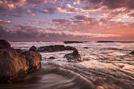 Spain, Tenerife, surf at beach La Tejita by sunset - SIPF01299