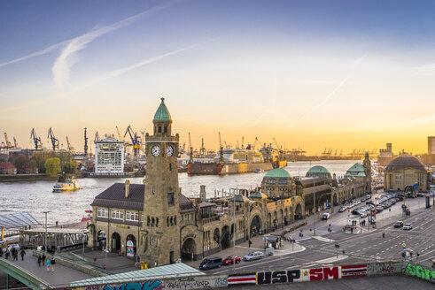 Germany, Hamburg, St Pauli Landing Stages at twilight - EGB00178