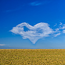Heart-shaped cloud on blue sky - MHF00403