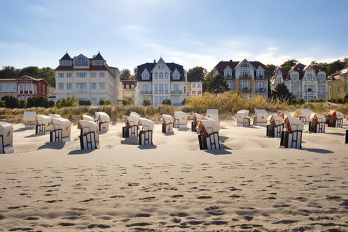 Germany, Usedom, Bansin, hooded beach chairs on the beach - SIE07250