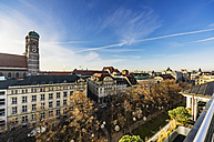 Germany, Munich, city view with spires of Cathedral of Our Lady from above - THA01879