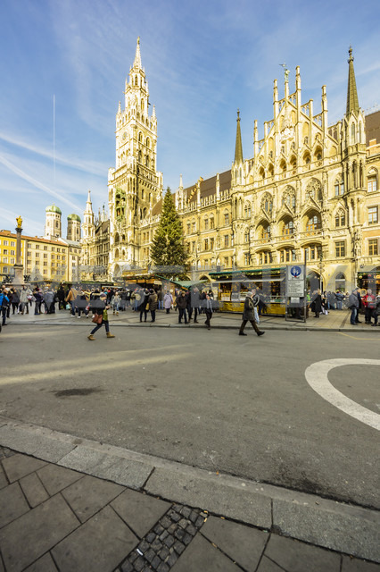 Germany, Munich, view to town hall and town hall square at Christmas time - THA01894