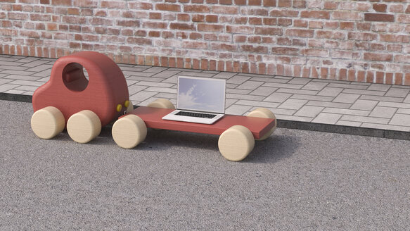 Laptop on trailer of wooden toy car, 3D Rendering - UWF01104
