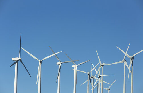 Wind turbines in front of blue sky - KBF00352
