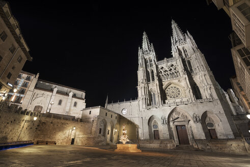 Spain, Burgos, Burgos cathedral at night - DHC00049