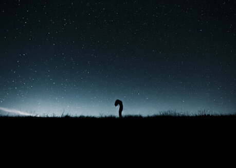 Austria, Mondsee, silhouette of woman standing under starry sky - WVF00804