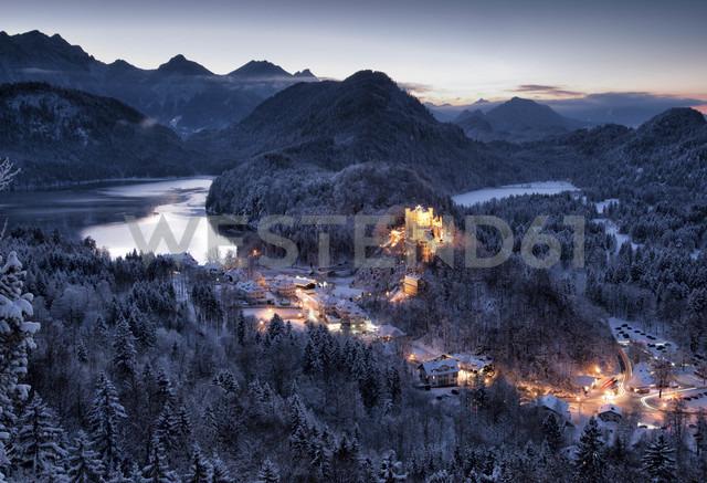 Germany, Bavaria, Hohenschwangau Castle at dusk in winter - FC01158