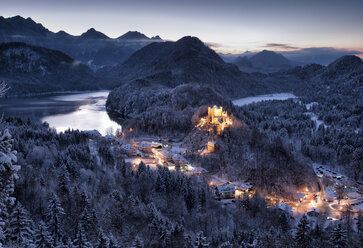 Germany, Bavaria, Hohenschwangau Castle at dusk in winter - FC01158