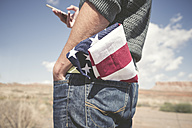USA, Utah, man with American Flag in his pocket, partial view - EPF00281