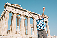 Greece, Athens, happy man visiting the Parthenon temple on the Acropolis - GEMF01404
