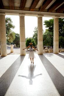 Greece, Athens, tourist visiting the Stoa of Attalos in the Agora - GEMF01443