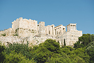 Greece, Athens, The Acropolis surrounded by pines in a sunny day - GEMF01446