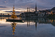Switzerland, Canton of Schaffhausen, Stein am Rhein, Christmas tree on River Rhine - KEBF00467