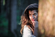 Portrait of young woman in the woods - WVF00820