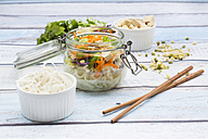Asian rice noodle soup with vegetables and tofu in jar - LVF05815