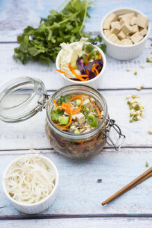 Asian rice noodle soup with vegetables and tofu in jar - LVF05818