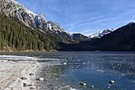 Italy, Alto Adige, Antholz Valley, frozen lake - LBF01542
