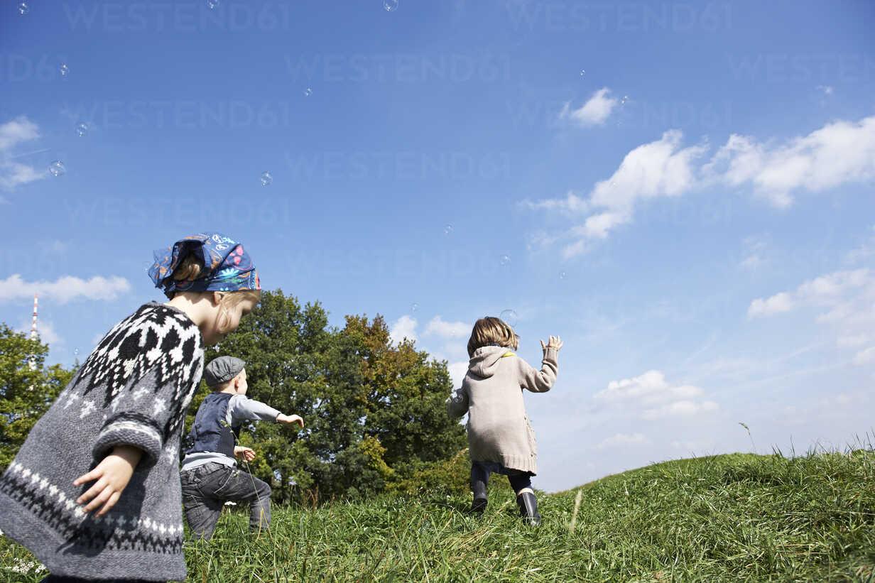 Drei Kinder spielen auf der Wiese - FSF00671 - Sandra Seckinger/Westend61