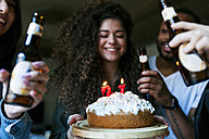 Group of young people celebrating birthday - VABF01069