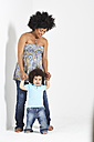 Portrait of little boy with his pregnant mother - FSF00688