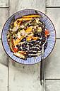 Vegan Buddha bowl of black rice, roasted vegetables, Tahini sauce and sesame seeds - SBDF03139