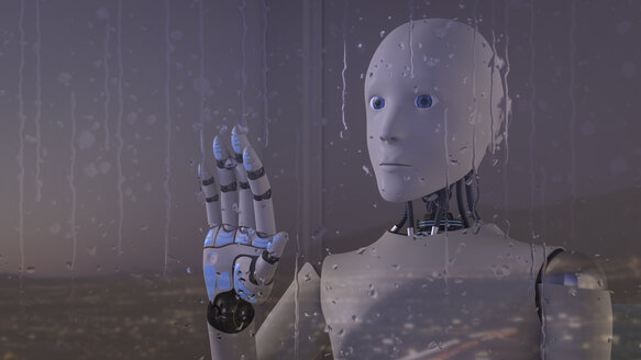 Robot looking out of rainy window - AHUF00307