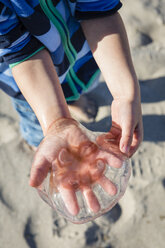 Boy holding jellyfish in his hand - OJF00179