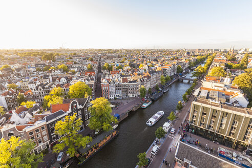 Netherlands, Amsterdam, view to the old town with Prinsengracht from above - WDF03877