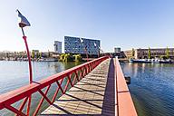 Netherlands, Amsterdam, footbridge over Spoorwegbassin to harbour island Sporenburg - WDF03889