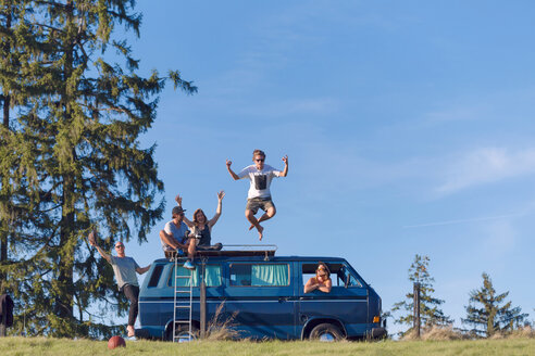 Group of friends having fun at van in the nature - WVF00840