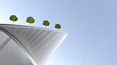 Modern building with roof garden, 3d rendering - UWF01115