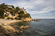 Spain, Catalonia, Lloret de Mar, castle on cliff top - ABOF00157