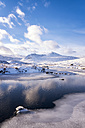 UK, Scotland, Rannoch Moor, Loch Ba and Black Mount Mountain Range in winter - SMAF00684