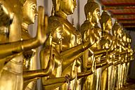 Thailand, Bangkok, row of Buddha statues - PCF00335