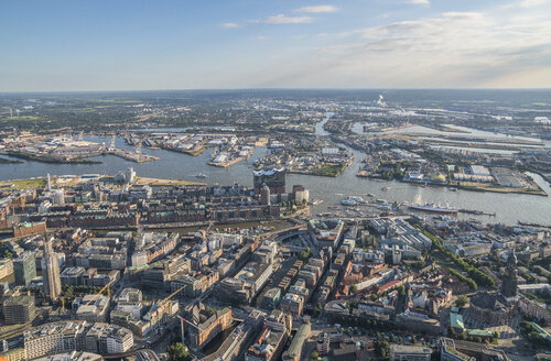 Germany, Hamburg, aerial view of the city center and Speicherstadt with Elbphilharmonie - PVCF00975
