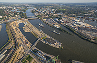 Germany, Hamburg, aerial view of harbor with Elbe bridges - PVCF00984