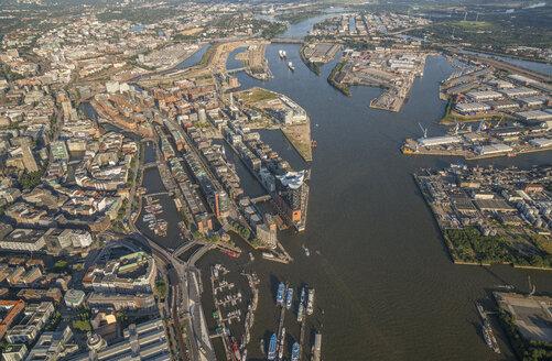 Germany, Hamburg, aerial view of Speicherstadt with Elbphilharmonie - PVCF00987