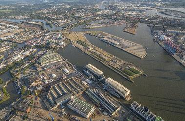 Germany, Hamburg, aerial view of Mitte and Elbe island Steinwerder - PVCF00993