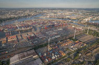 Germany, Hamburg, aerial view of Waltershof with Eurogate Terminal - PVCF01002