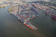 Germany, Hamburg, aerial view of container terminal Burchardkai - PVCF01005