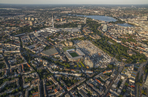 Germany, Hamburg, aerial view of Heiligengeistfeld with Millerntor Stadium - PVCF01011